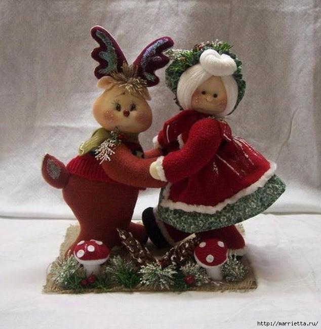 Шьем игрушки. Рождественский олень с подружкой (1) (634x650, 210Kb)