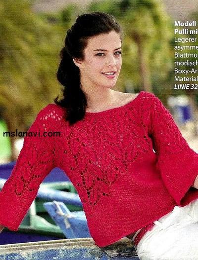 вязаный-ажурный-пуловер-спицами (400x527, 325Kb)