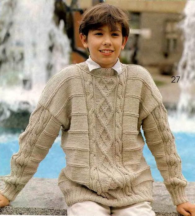 Вязание пуловера спицами для подростков