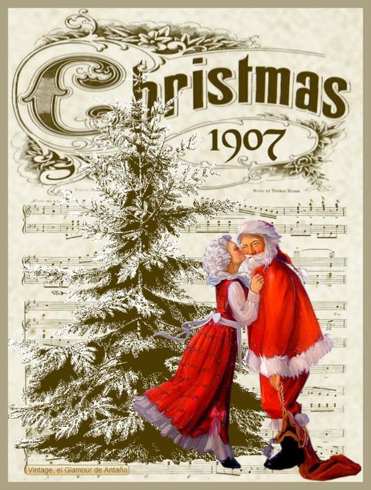 Navidad-PapГЎ y mamГЎ Noel-lГЎmina-Vintage, el Glamour de AntaГ±o (531x700, 470Kb)