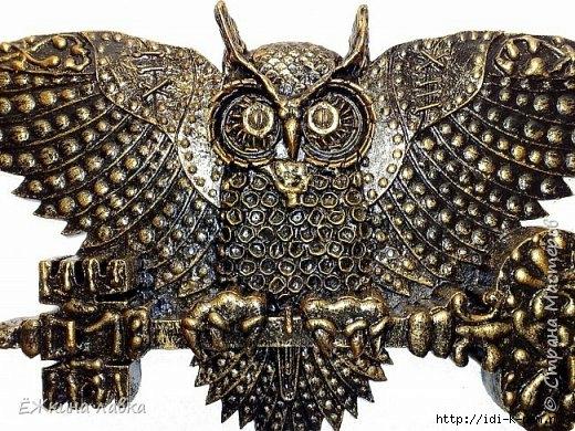 как сделать сову ключницу, чем украсить прихожую, поделки из бросового материала. из чего сделать сову своими руками, как сделать сову своими руками, сова в интерьере,