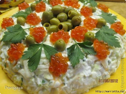 Царский салат с кальмарами и красной икрой (8) (520x390, 141Kb)