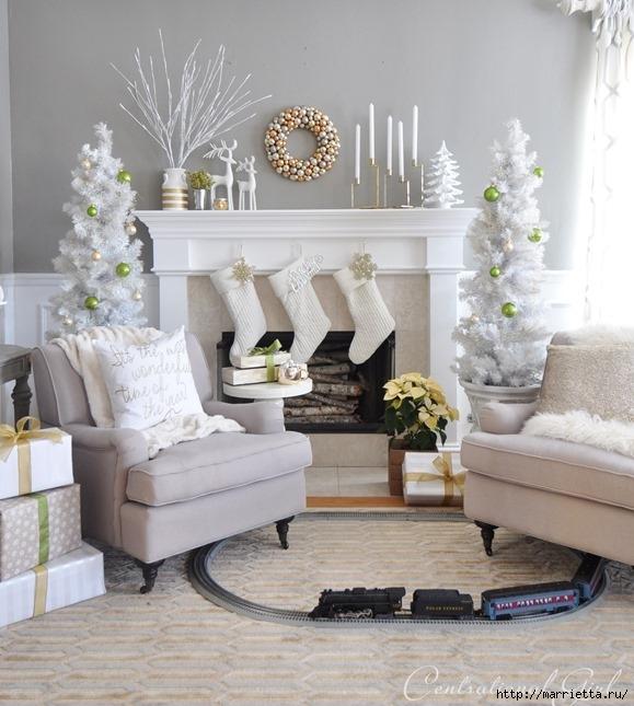 Рождественский декор в интерьере. Красивые фотографии (11) (579x645, 211Kb)