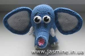 вязаный слоненок. как связать слоненка, схема вязания слоненка Хьюго Пьюго,