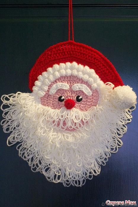 вязаный дед мороз, как связать деда мороза Хьюго Пьюго, схема вязания деда мороза, дед мороз новогоднее украшение на стенку,