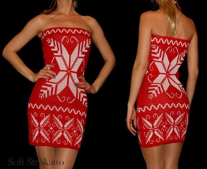 Красное платье крючком с белым жаккардом