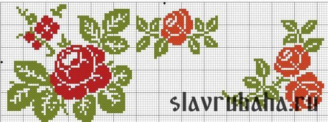 Простая вышивка крестом розы схемы