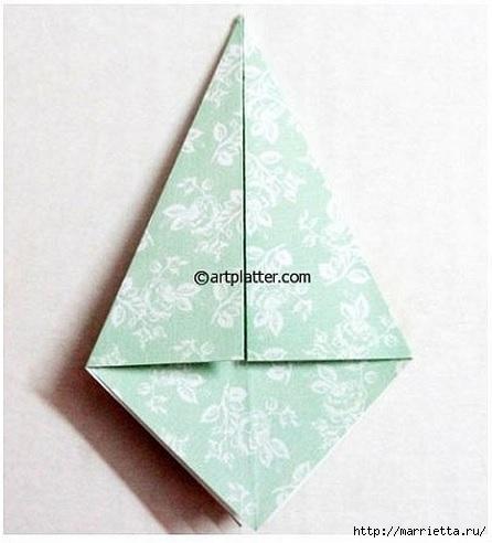 Елочка из бумаги в технике оригами (7) (446x492, 98Kb)