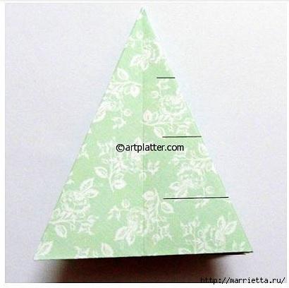Елочка из бумаги в технике оригами (11) (410x408, 81Kb)