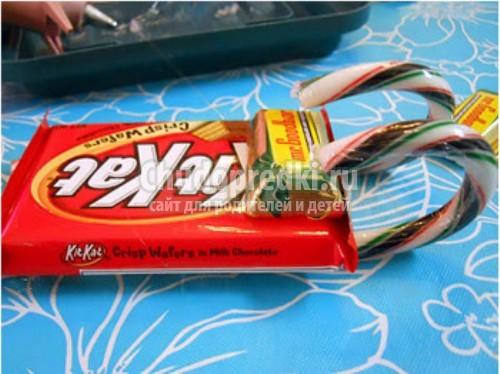 Сани из конфет своими руками мастер класс
