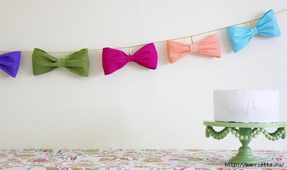 Бантики из гофрированной бумаги для праздничной гирлянды (1) (580x344, 92Kb)