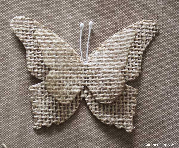Бабочки из мешковины (22) (600x495, 217Kb)