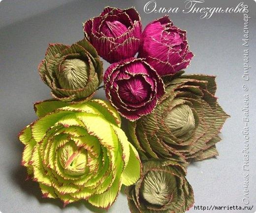 Каменные розы или суккуленты из гофрированной бумаги (13) (520x432, 167Kb)