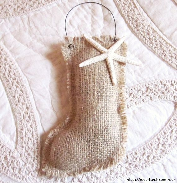 2014 christmas diy burlap stocking ornament with starfish and iron wire - christmas crafts hanger de-f69396 (570x590, 210Kb)