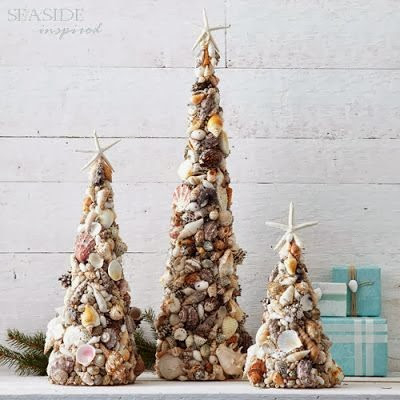 Beach Decor Seashell Christmas Trees (400x400, 112Kb)