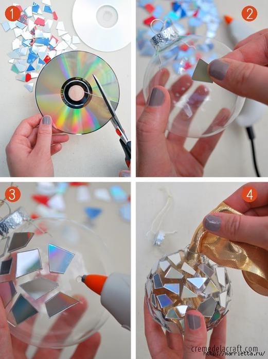 Елочные игрушки с мозаикой из CD дисков (2) (521x700, 249Kb)