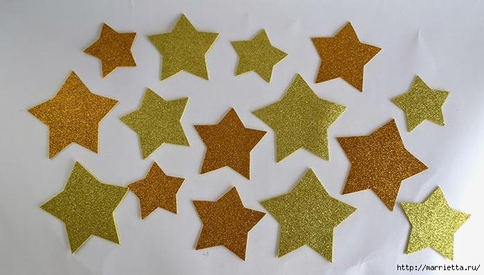 Наряжаем новогоднюю елочку золотыми звездами из бумаги (2) (700x398, 195Kb)