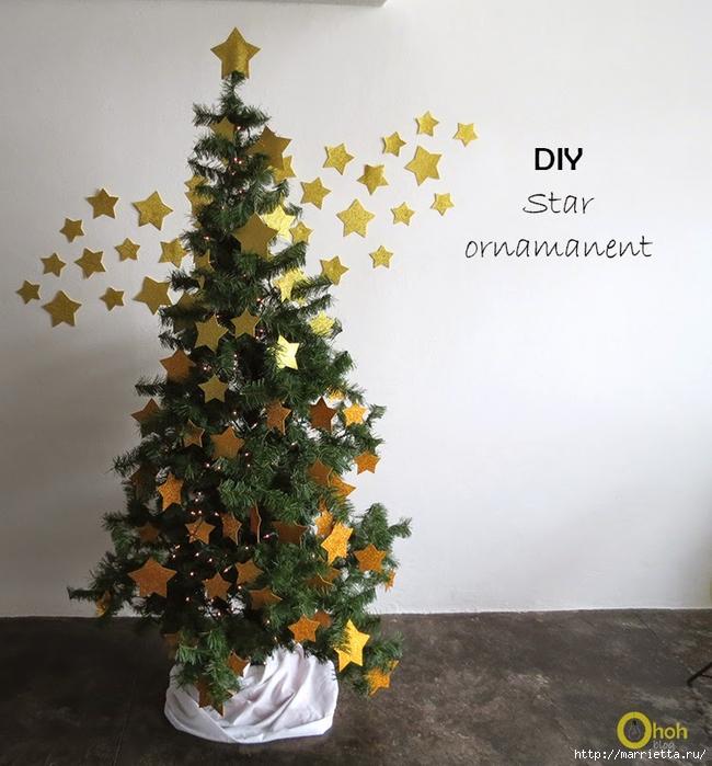 Наряжаем новогоднюю елочку золотыми звездами из бумаги (5) (650x700, 287Kb)