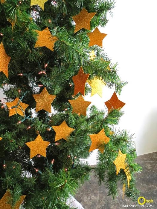 Наряжаем новогоднюю елочку золотыми звездами из бумаги (7) (525x700, 367Kb)