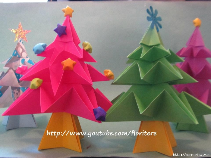 Елочки из бумаги в технике оригами. Видео мастер-класс (3) (700x525, 229Kb)