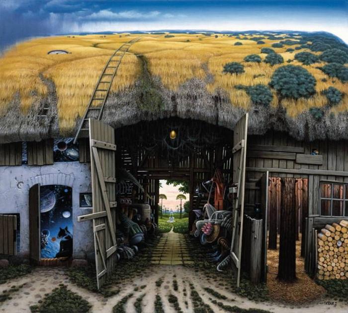 оптические иллюзии художник Роб Гонсалвес картины 2 (700x630, 442Kb)