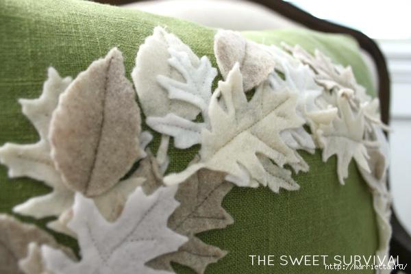 Зимнее оформление подушки листьями из фетра (5) (600x400, 156Kb)