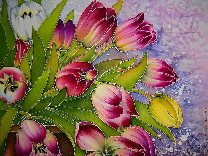 Трафарет тюльпана для рисования и вырезания  БАТИК и Я