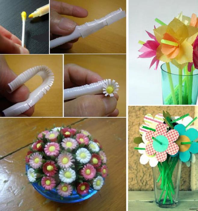 Цветок из трубочек для коктейля своими руками для детей 39