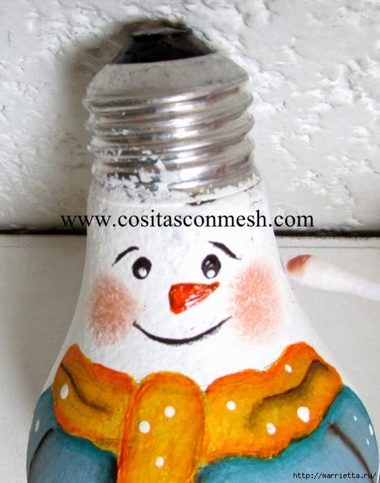Как с лампочки сделать снеговика