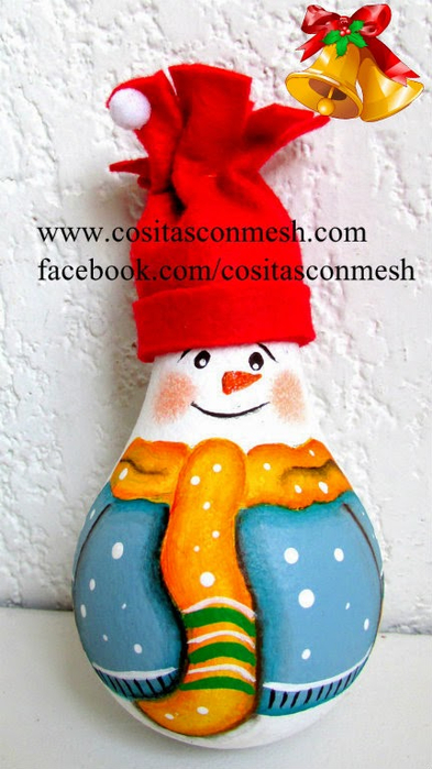 Снеговик из лампочки. Новогодняя роспись по стеклу (22) (393x700, 297Kb)