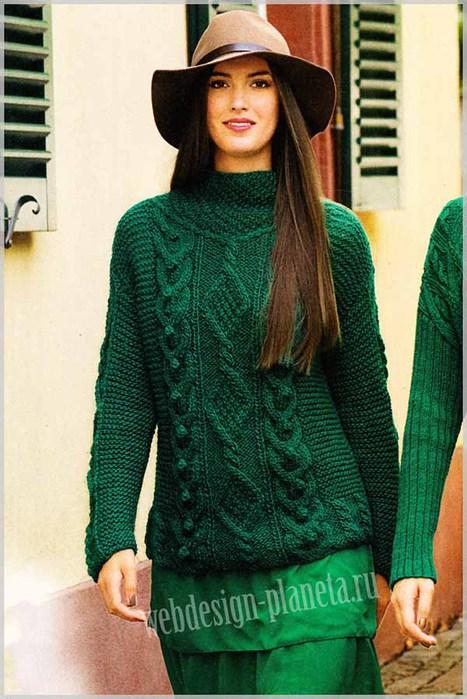 izumrudnyj-zhenskij-pulover-spitsami-s-uzorom-iz-kos-foto (467x700, 100Kb)