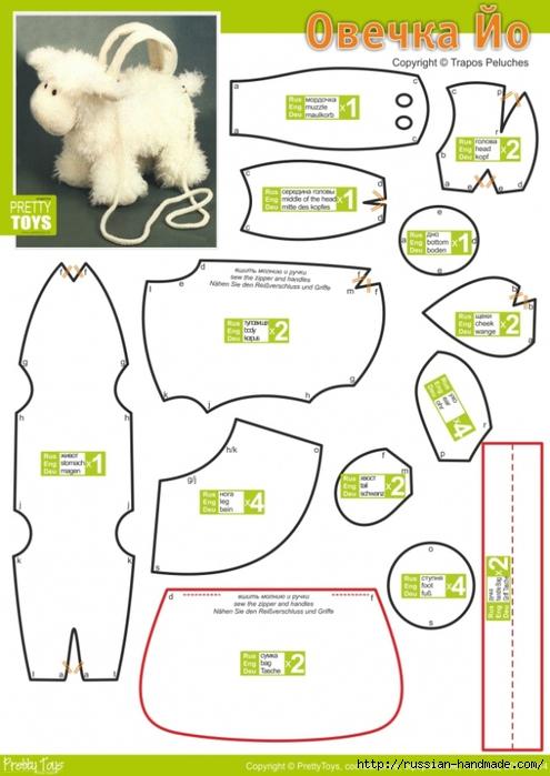 Выкройки козочки, овечки и снеговика (5) (495x700, 201Kb)