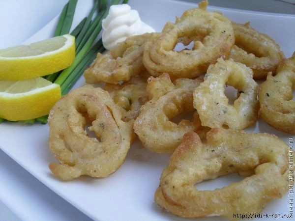 кальмары в кляре, как приготовить кальмары в кляре Хьюго Пьюго, рецепт альмаров в кляре,
