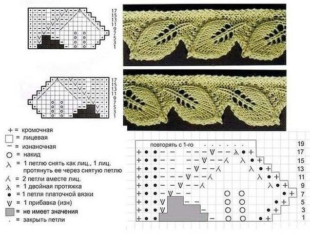 кайма листики спицами (604x458, 83Kb)