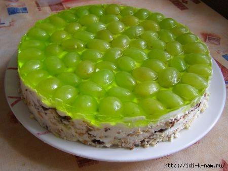 торт без выпечки, простые десерты без выпечки, торт с виноградом, десерт с виноградом,