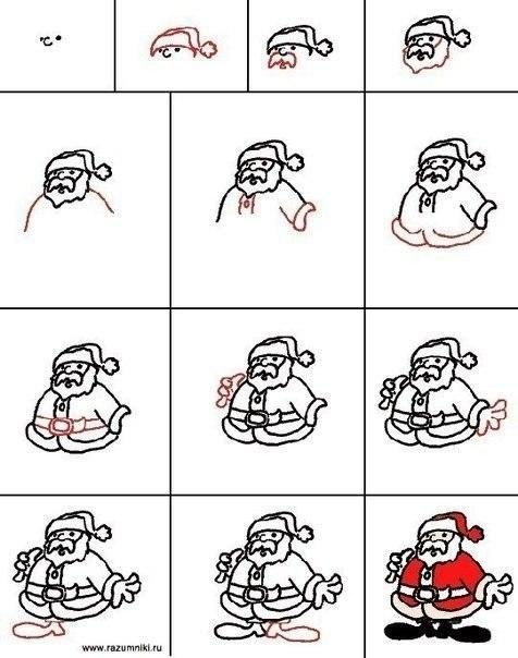 как нарисовать деда мороза1 (476x604, 116Kb)
