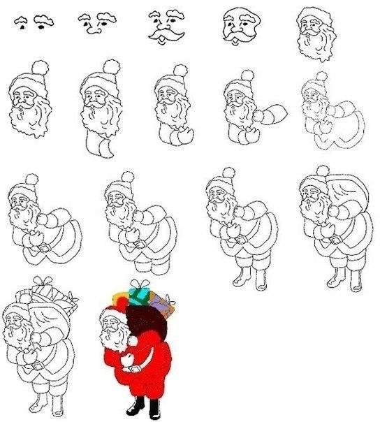 как нарисовать деда мороза3 (544x604, 144Kb)