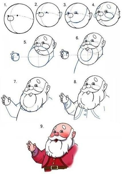 как нарисовать деда мороза7 (426x604, 102Kb)