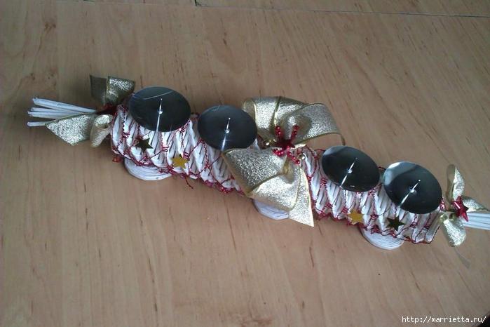 Новогодние подсвечники спиральным плетением из газет (21) (700x466, 207Kb)