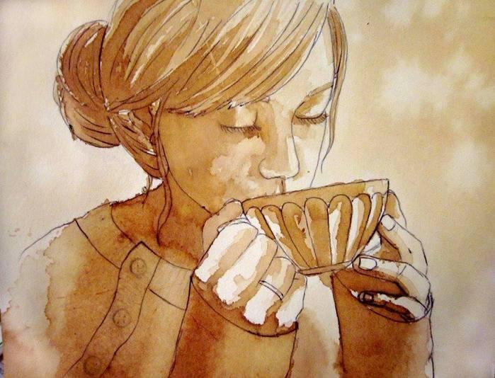 Картины чаем и кофе