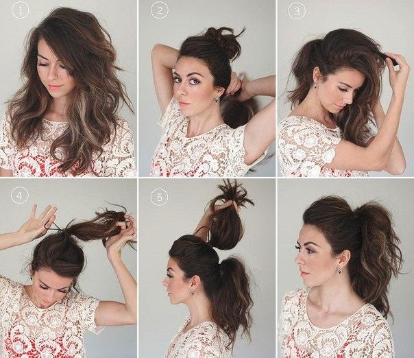Как сделать объемную прическу на средние волосы фото