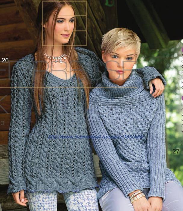 Пуловер с планками из кос (608x700, 198Kb)