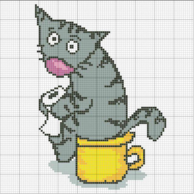 вышивка Кот на горшке с
