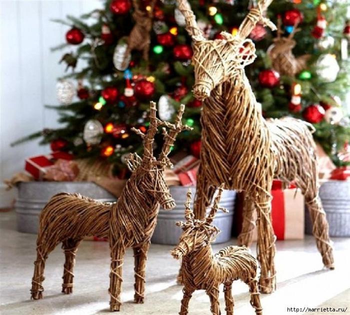 Рождественские ОЛЕНИ из пробок и веток (14) (700x630, 332Kb)