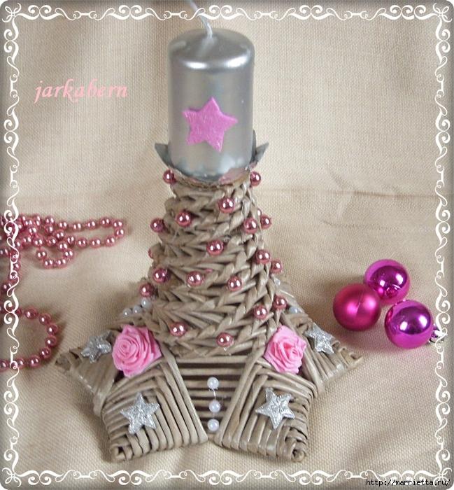 плетение из газет. рождественские идеи (15) (649x700, 390Kb)
