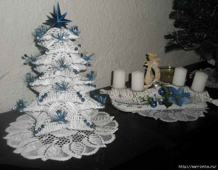 плетение из газет. рождественские идеи (46) (700x545, 239Kb)