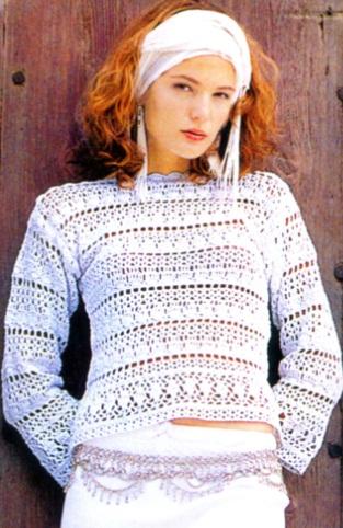 белый пуловер крючком (313x482, 204Kb)