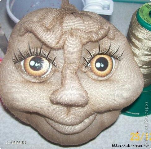 как сделать глаза колготочной кукле, как сделать глаза кукле,