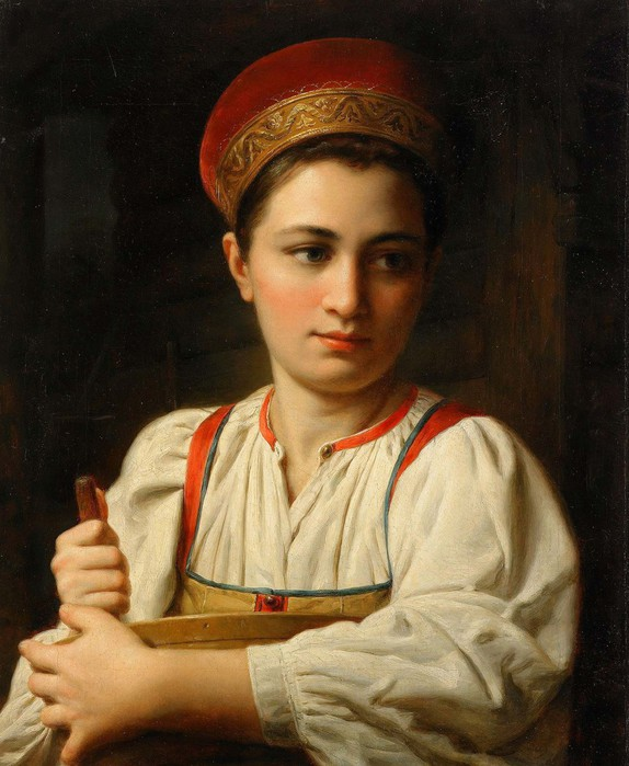 Anonymous Painter (Mid 19th century), Portrait of a Russian Beauty (574x700, 96Kb)