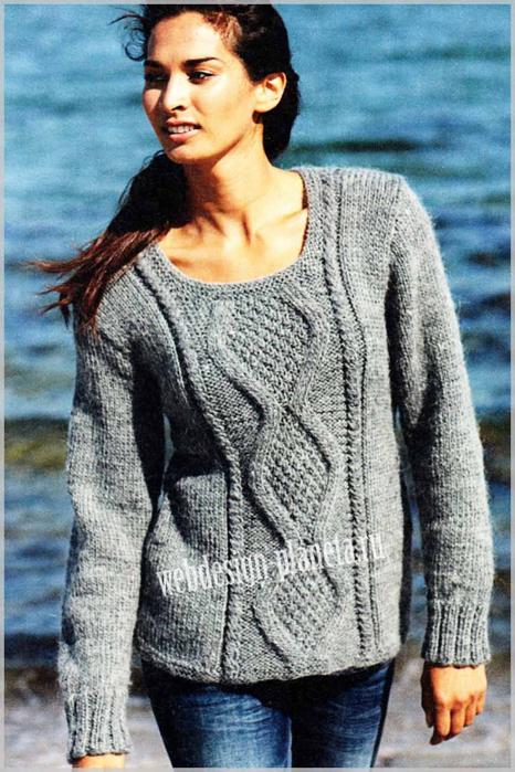 seryj-pulover-spitsami-s-relefnym-uzorom-foto (466x700, 378Kb)